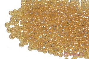 Topaz luster Transparent Indian glass seed bead - click here for large view