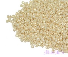Ivory Opaque Luster Indian glass seed bead - click here for large view